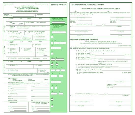 Municipal Form 102