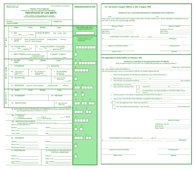 birth certificate philippines sample