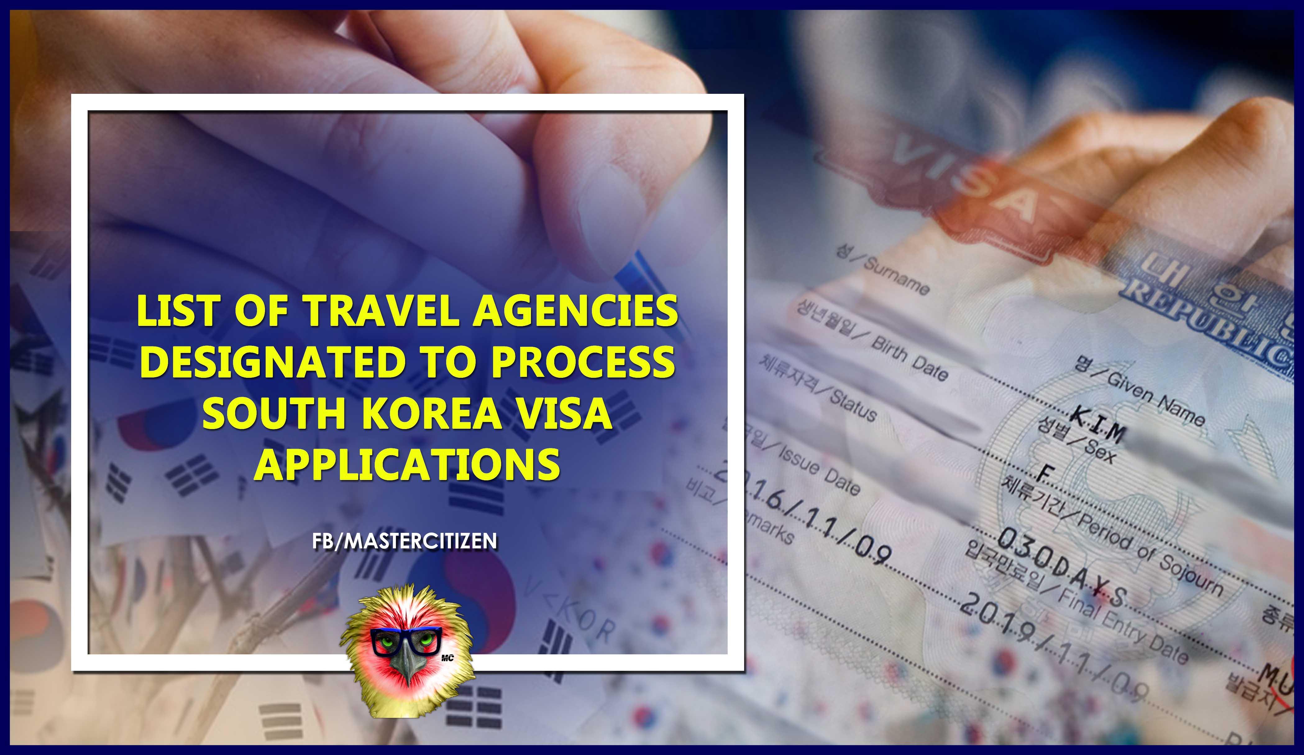 List of Travel Agencies Designated to Process South Korea Visa